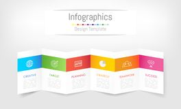 De elementen van het Infographicontwerp voor uw bedrijfsgegevens met 6 opties Royalty-vrije Stock Afbeelding