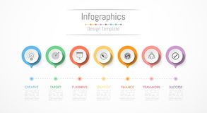 De elementen van het Infographicontwerp voor uw bedrijfsgegevens met 7 opties Royalty-vrije Stock Afbeeldingen