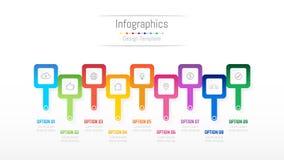 De elementen van het Infographicontwerp voor uw bedrijfsgegevens met 9 opties Royalty-vrije Stock Afbeeldingen