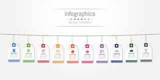 De elementen van het Infographicontwerp voor uw bedrijfsgegevens met 10 opties, delen, stappen, chronologie of processen, het con stock illustratie