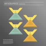 De elementen van het Infographicsontwerp op donkere achtergrond Stock Foto