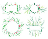 De elementen van het kerstboomdecor voor uitnodigingen De nieuwe Vector van de jaarvakantie Royalty-vrije Stock Foto