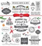 De elementen van het Kerstmisontwerp Stock Foto