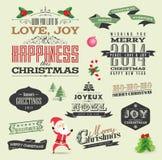 De elementen van het Kerstmisontwerp Stock Afbeeldingen