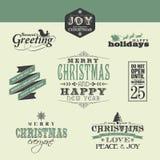 De elementen van het Kerstmisontwerp Stock Foto's