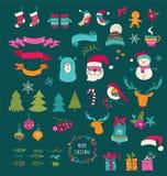 De Elementen van het Kerstmisontwerp - de symbolen van Krabbelkerstmis, pictogrammen Royalty-vrije Stock Afbeelding