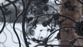 De elementen van het kunstsmeedstuk en ijzeromheining Ruwe Metaal Krullende Decoratieve Elementen Uitstekende decorelementen Omhe Royalty-vrije Stock Foto