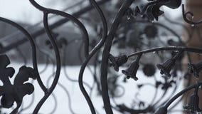 De elementen van het kunstsmeedstuk en ijzeromheining Ruwe Metaal Krullende Decoratieve Elementen Uitstekende decorelementen Omhe Stock Foto's