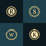 De elementen van het monogramontwerp, bevallig malplaatje Elegant het embleemontwerp van de lijnkunst royalty-vrije illustratie