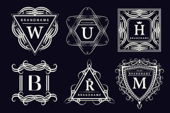 De elementen van het monogramontwerp, bevallig malplaatje Kalligrafisch elegant het embleemontwerp van de lijnkunst Embleembrieve Stock Fotografie