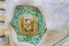 De elementen van het mozaïek van Gaudi ` s van mozaïekfragmenten werken in Park Guell in de winter in de stad van Barcelona Royalty-vrije Stock Afbeeldingen