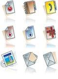 De Elementen van het ontwerp 43d. Geplaatste de Pictogrammen van de werken van het document royalty-vrije illustratie
