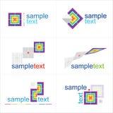 De elementen van het ontwerp Geplaatste pictogrammen Stock Foto's