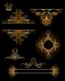 De elementen van het ontwerp in goud stock illustratie