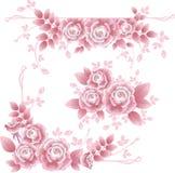 De elementen van het ontwerp met roze zijdeachtige rozen. Stock Afbeeldingen