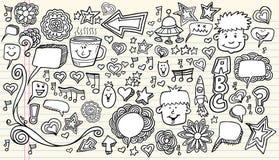 De Elementen van het Ontwerp van de Schets van de Krabbel van het notitieboekje Stock Foto