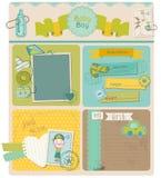 De Elementen van het Ontwerp van het plakboek - de Jongen van de Baby Royalty-vrije Stock Afbeelding