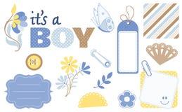 De Elementen van het Ontwerp van het Plakboek van de baby Royalty-vrije Stock Afbeelding