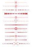 De elementen van het ontwerp van valentijnskaarten worden gemaakt die Royalty-vrije Stock Afbeeldingen