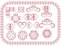 De elementen van het ontwerp van valentijnskaarten worden gemaakt die Stock Foto's