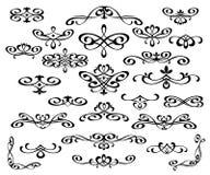 De elementen van het ontwerp Vector illustratie vignetten zwart Stock Foto's