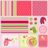 De elementen van het ontwerp voor babyplakboek Stock Afbeeldingen