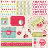 De Elementen van het ontwerp voor plakboek met appelen Royalty-vrije Stock Foto