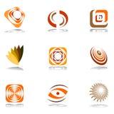 De elementen van het ontwerp in warme kleuren. Stock Fotografie