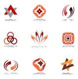 De elementen van het ontwerp in warme kleuren. Reeks 10. Stock Afbeeldingen