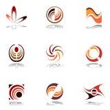 De elementen van het ontwerp in warme kleuren. Reeks 9. Stock Foto's