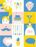 De elementen van het partijontwerp - reeks grappige pictogrammen Stock Foto's