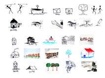 De elementen van het pictogram en van het ontwerp Royalty-vrije Stock Afbeeldingen