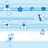 De elementen van het plakboek in blauw Royalty-vrije Stock Foto's
