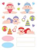 De elementen van het plakboek met baby Royalty-vrije Stock Afbeelding
