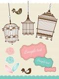 De elementen van het plakboek met uitstekende birdcage Royalty-vrije Stock Afbeelding