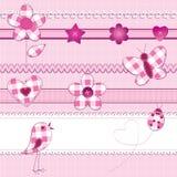 De elementen van het plakboek in roze Stock Foto