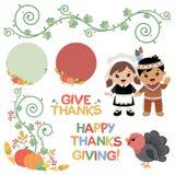 De elementen van het de wervelingsontwerp van de dankzeggingsherfst Stock Afbeelding