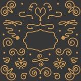 De elementen van het wervelingsontwerp op donkergrijze achtergrond worden geplaatst die Vector Illustratie
