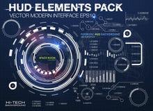 De elementen van Infographic futuristisch gebruikersinterface HUD UI UX Abstracte achtergrond met het verbinden van punten en lij Stock Afbeelding