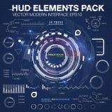 De elementen van Infographic futuristisch gebruikersinterface HUD UI UX Abstracte achtergrond met het verbinden van punten en lij Stock Foto's