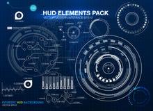 De elementen van Infographic futuristisch gebruikersinterface HUD UI UX Abstracte achtergrond met het verbinden van punten en lij Royalty-vrije Stock Fotografie