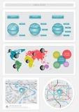 De elementen van Infographics en van het Web Stock Foto's
