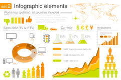 De elementen van Infographics met pictogrammen Stock Fotografie