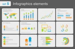 De elementen van Infographics met pictogrammen Stock Foto's