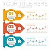 De elementen van Infographics 3 stappen en lijngrafieken Royalty-vrije Stock Afbeeldingen