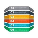 De elementen van Infographics Zes stappenproces Stock Foto