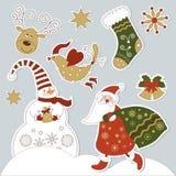 De elementen van Kerstmis en van het nieuwe jaar Stock Afbeeldingen