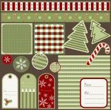 De elementen van Kerstmis van het plakboek Stock Foto