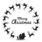 De Elementen van de Kerstmiskroon met Santa Claus berijdt rendierar het spinnen rond maken kader voor lege exemplaarruimte voor t royalty-vrije illustratie