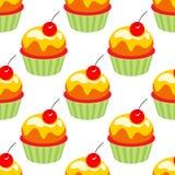 De elementen van de verjaardagspartij Vector illustratiereeks De reeks van Cupcakes decor Naadloos patroon met muffins royalty-vrije illustratie